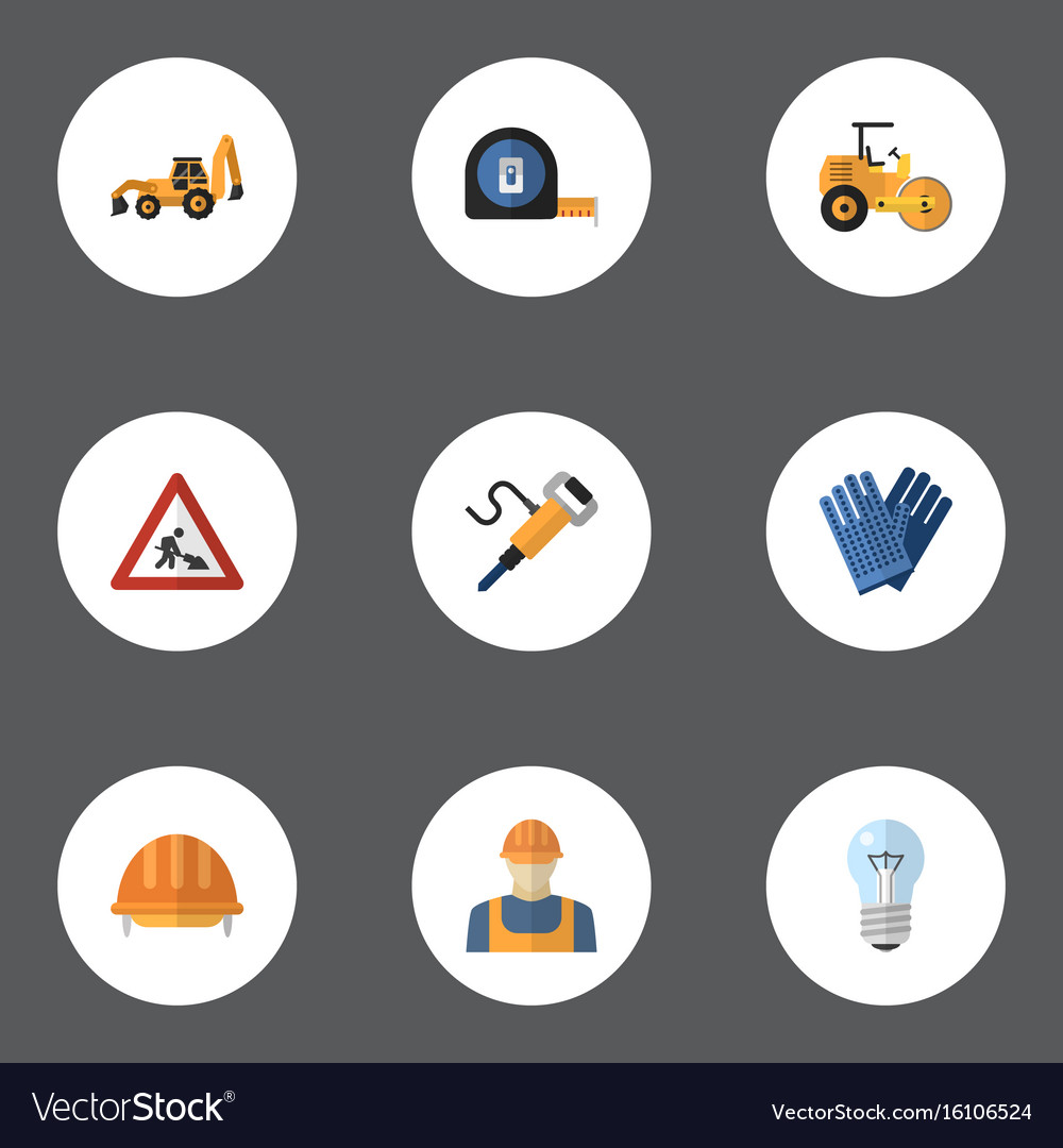 Flat icons hardhat caution pneumatic and other vector image