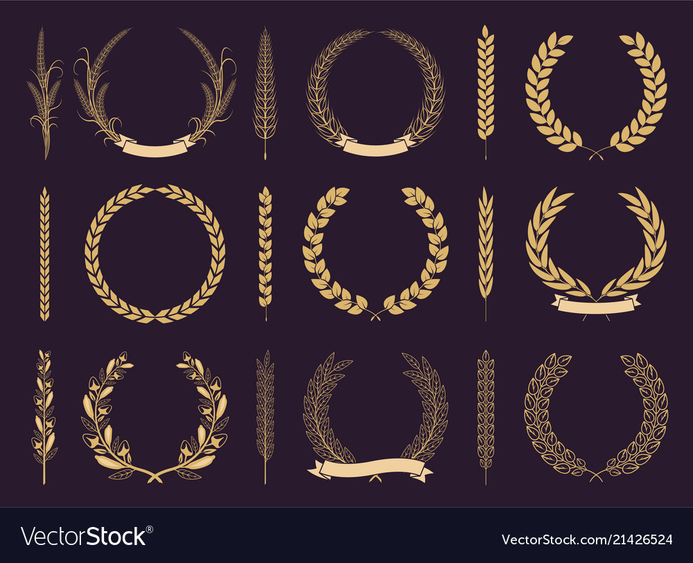 Golden laurel wreaths and branches collection