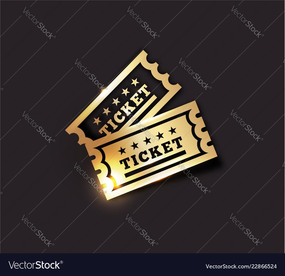 Golden vintage ticket icon on dark