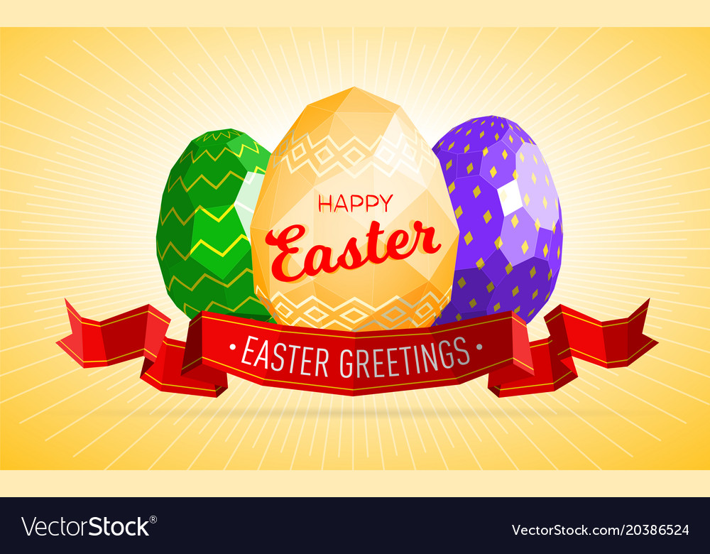 Happy easter greeting card or web banner template vector image m4hsunfo