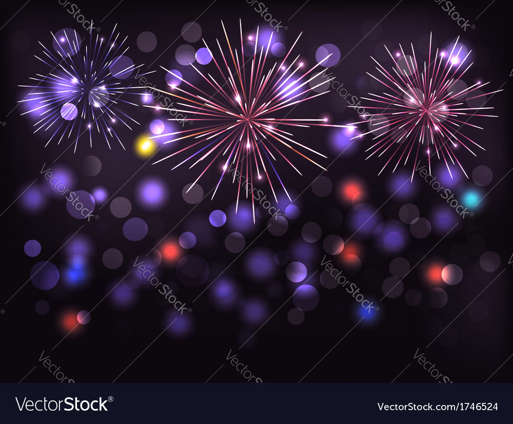 Holiday background with colorful fireworks Happy