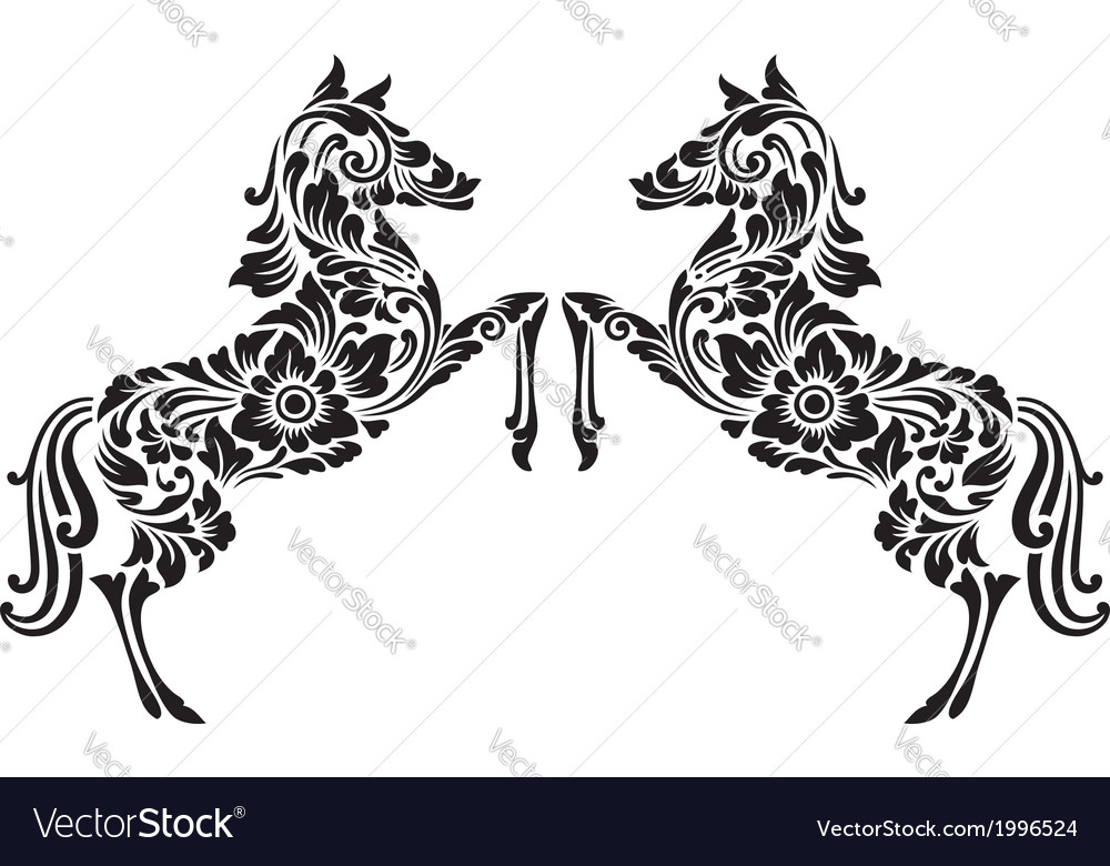 Horse floral pattern decoration