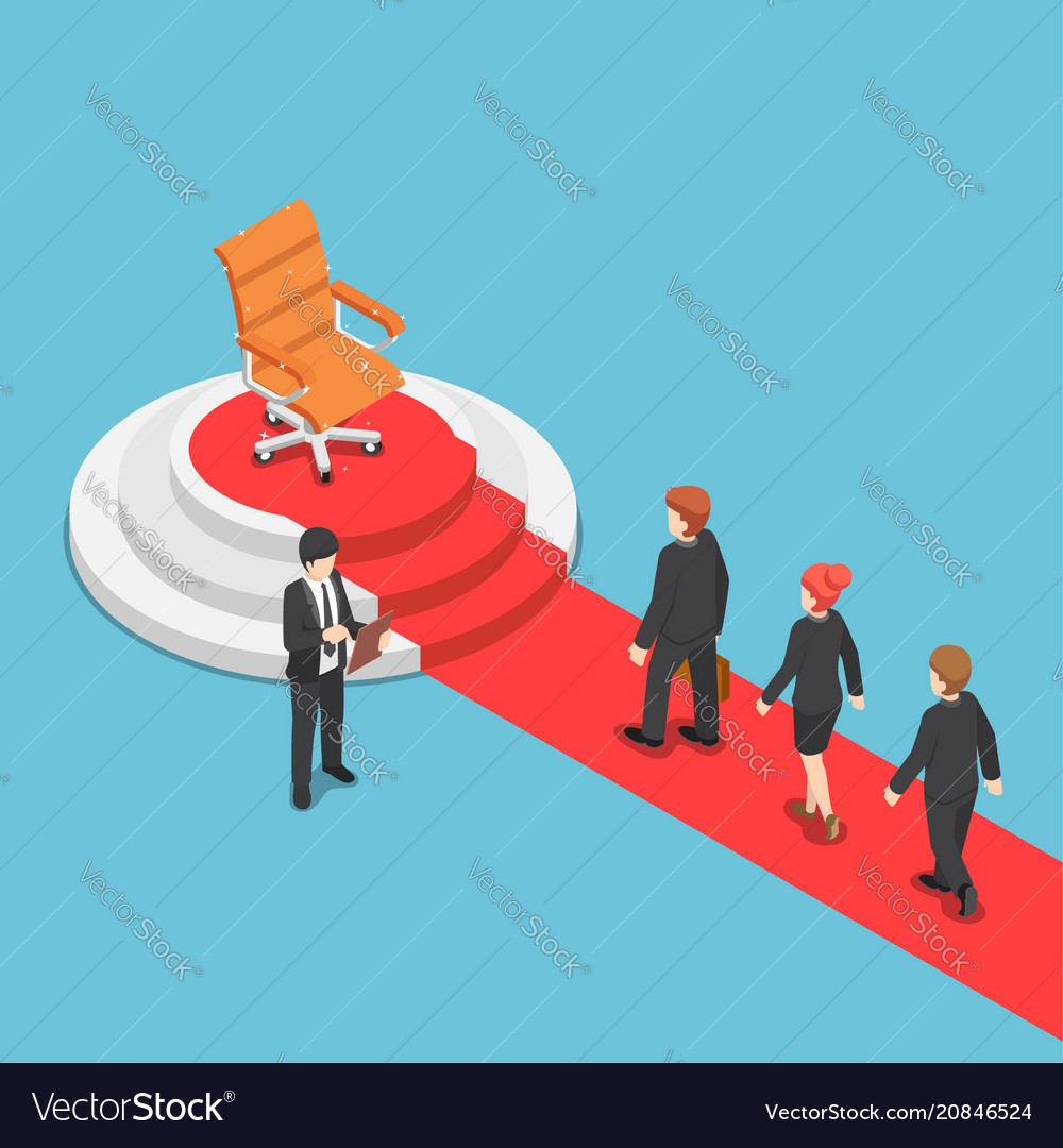 Isometric businessman in a queue for job