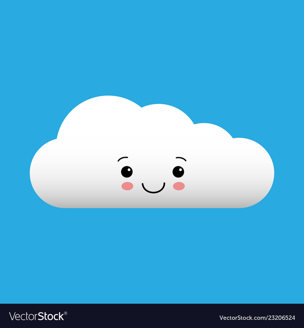 Clouds kawaii. Cartoon white cloud cute
