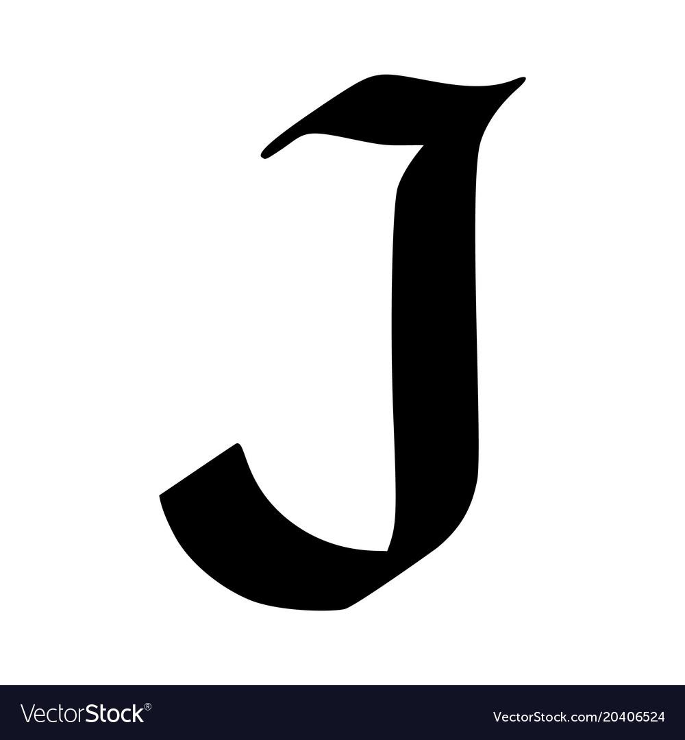Letter j painted brush