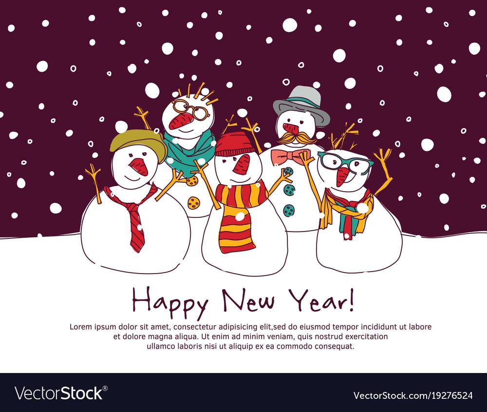 Night new year group snowmen greeting card