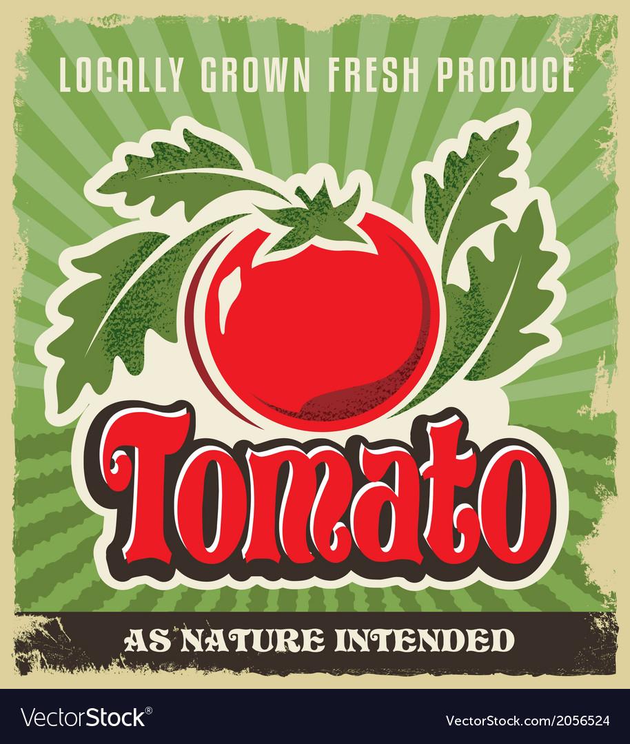 Retro tomato vintage advertising label sign