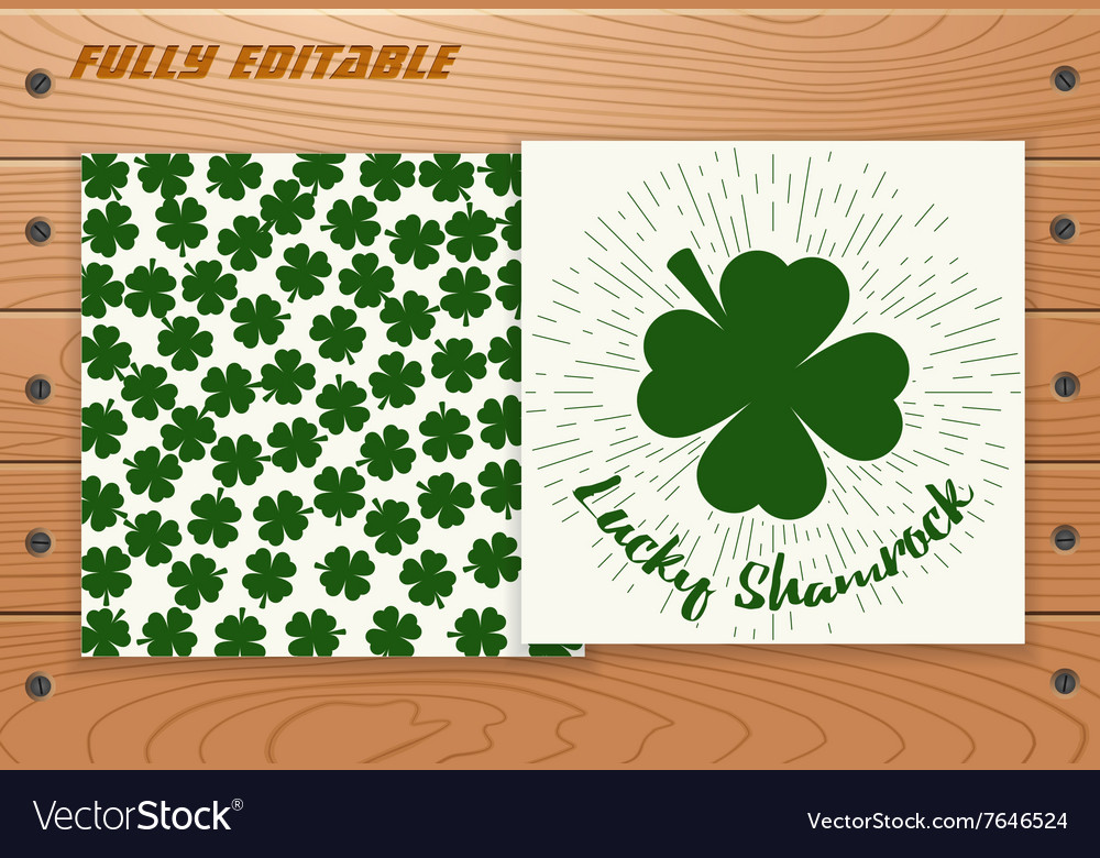 Saint Patricks Day card on wooden table