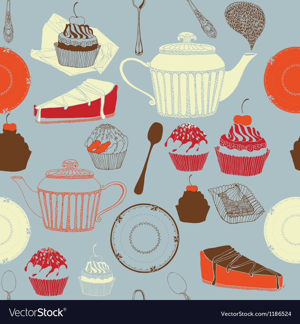 Tea and cakes Seamless pattern