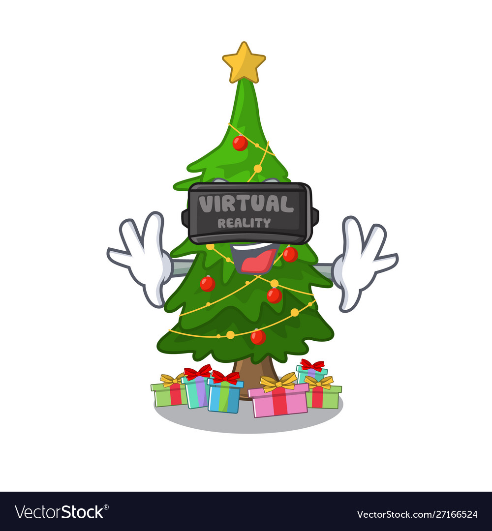 Virtual reality christmas tree next to cartoon