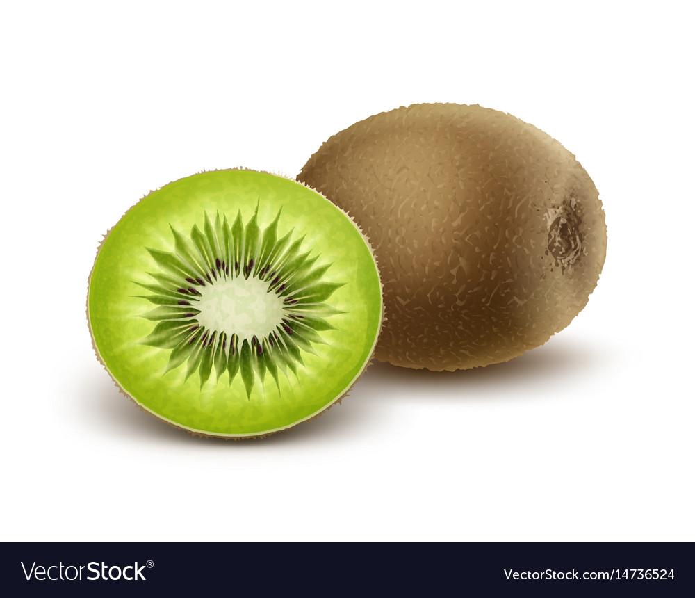 Whole and half cut kiwi