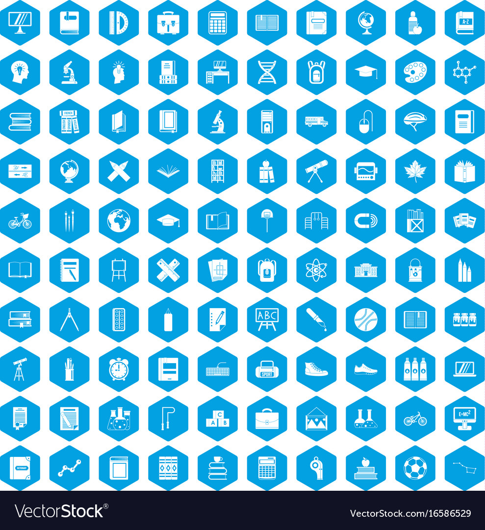 100 school icons set blue vector image