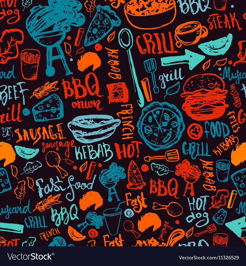 BBQ Barbecue Grill Doodle Seamless Pattern