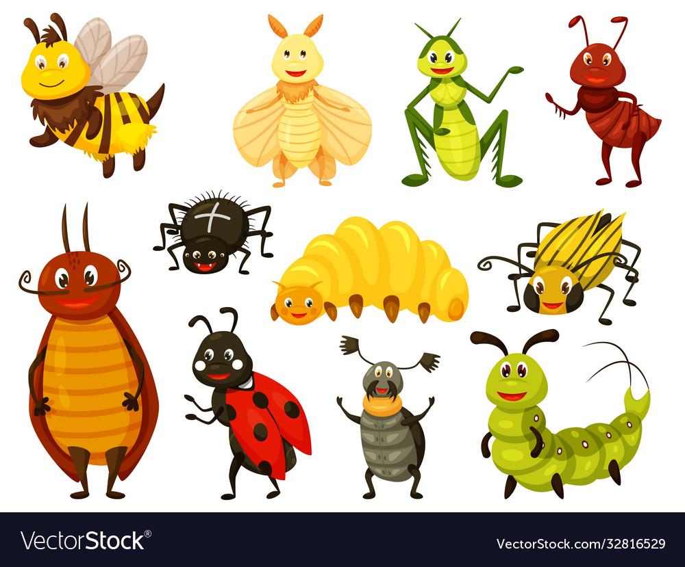 Cute cartoon bug icon set on white background