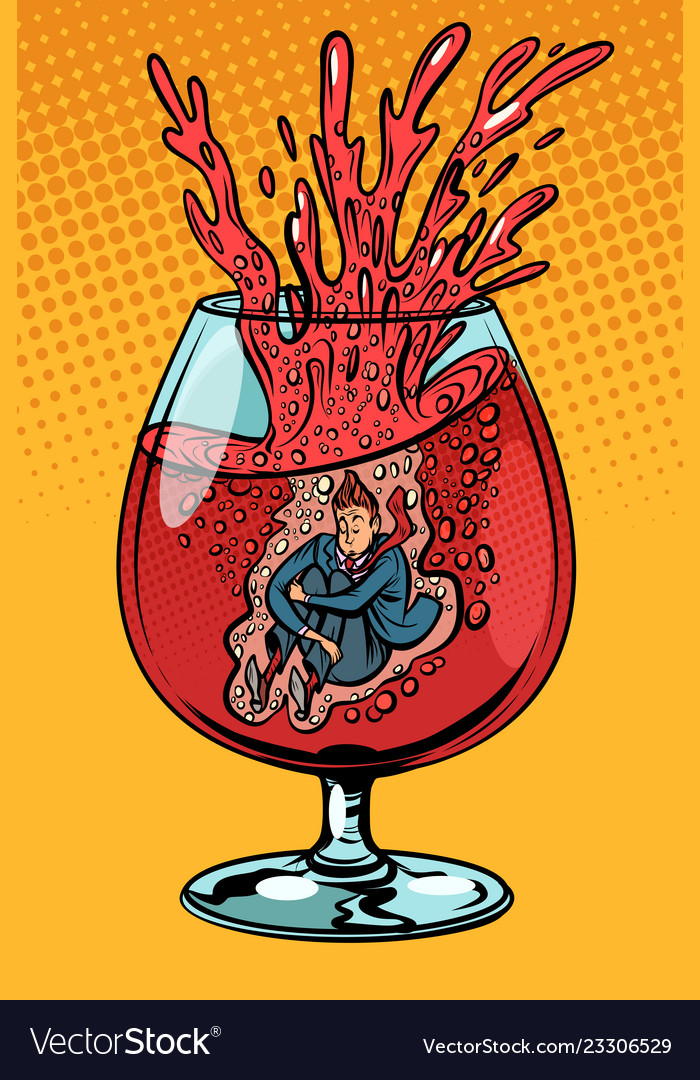 Drunkard wine man in a glass of alcohol