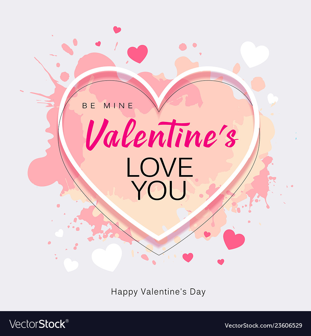 Happy valentines day heart shape love you message