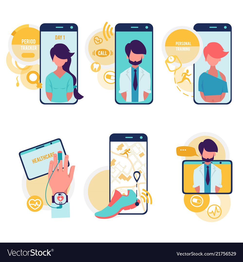 Healthcare and technologies cartoon icons