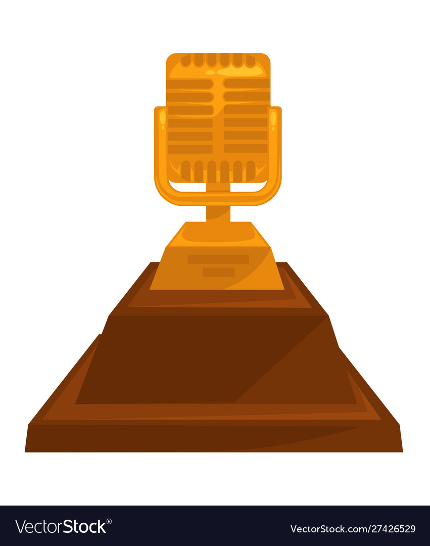 Music award vintage golden microphone trophy with