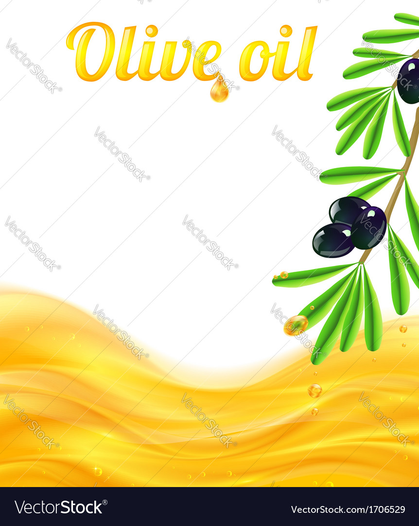 Olive oil and branches with olives background