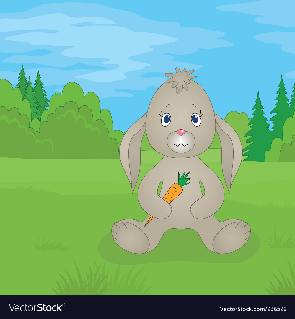 Rabbit girl with carrot in summer forest