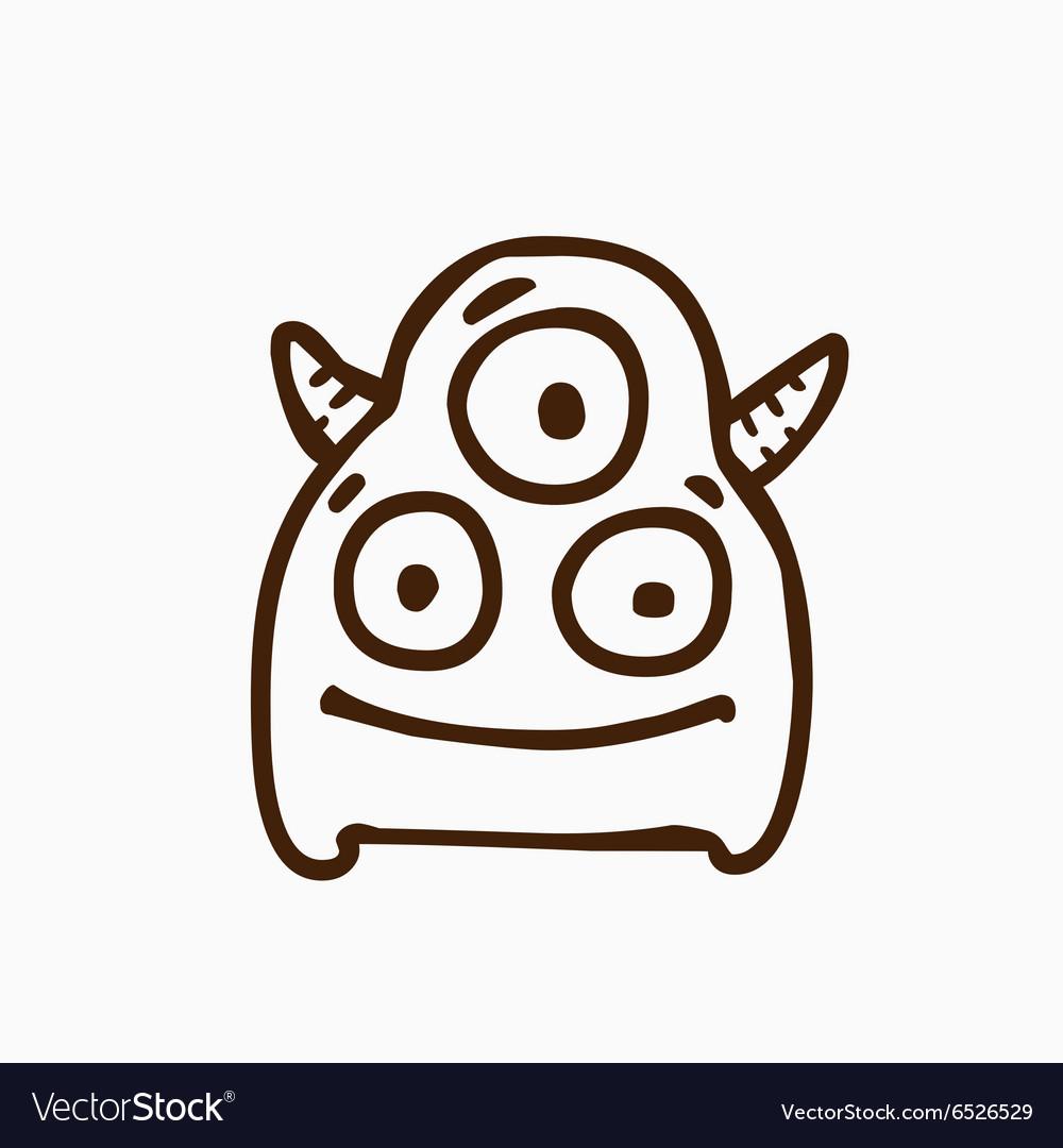 Three eyed alien outline