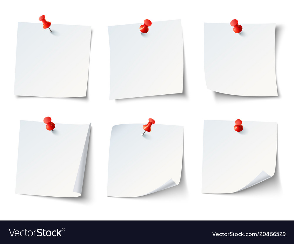 White paper notes on red thumbtack top view note