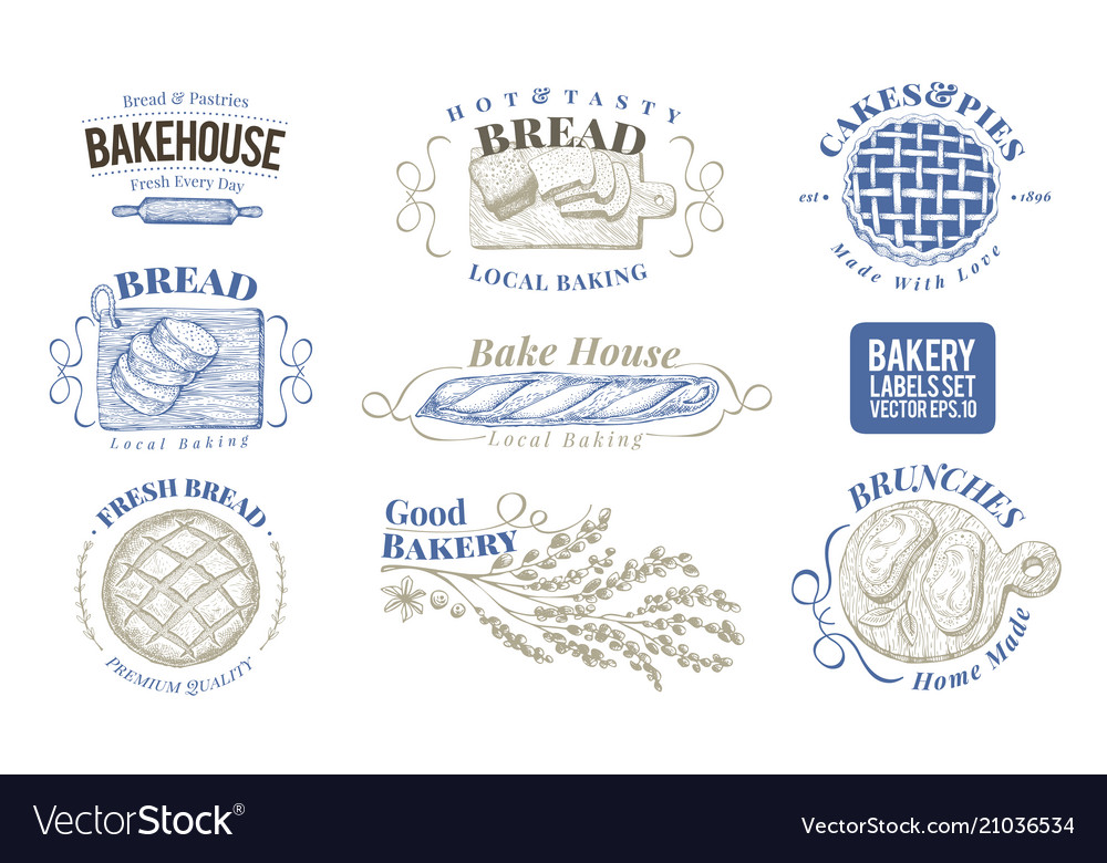 Bakery set of monochrome labels badges
