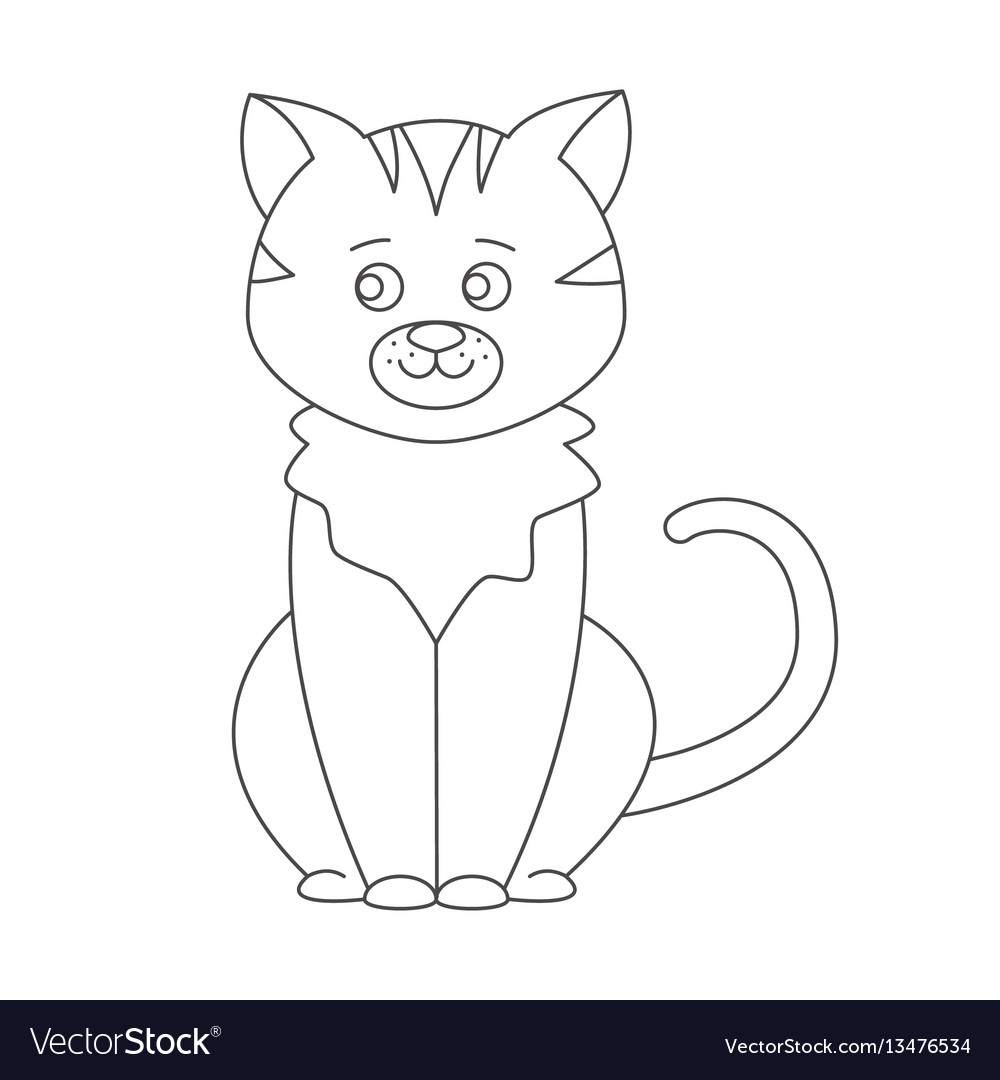 Cat For Coloring Book Royalty Free Vector Image