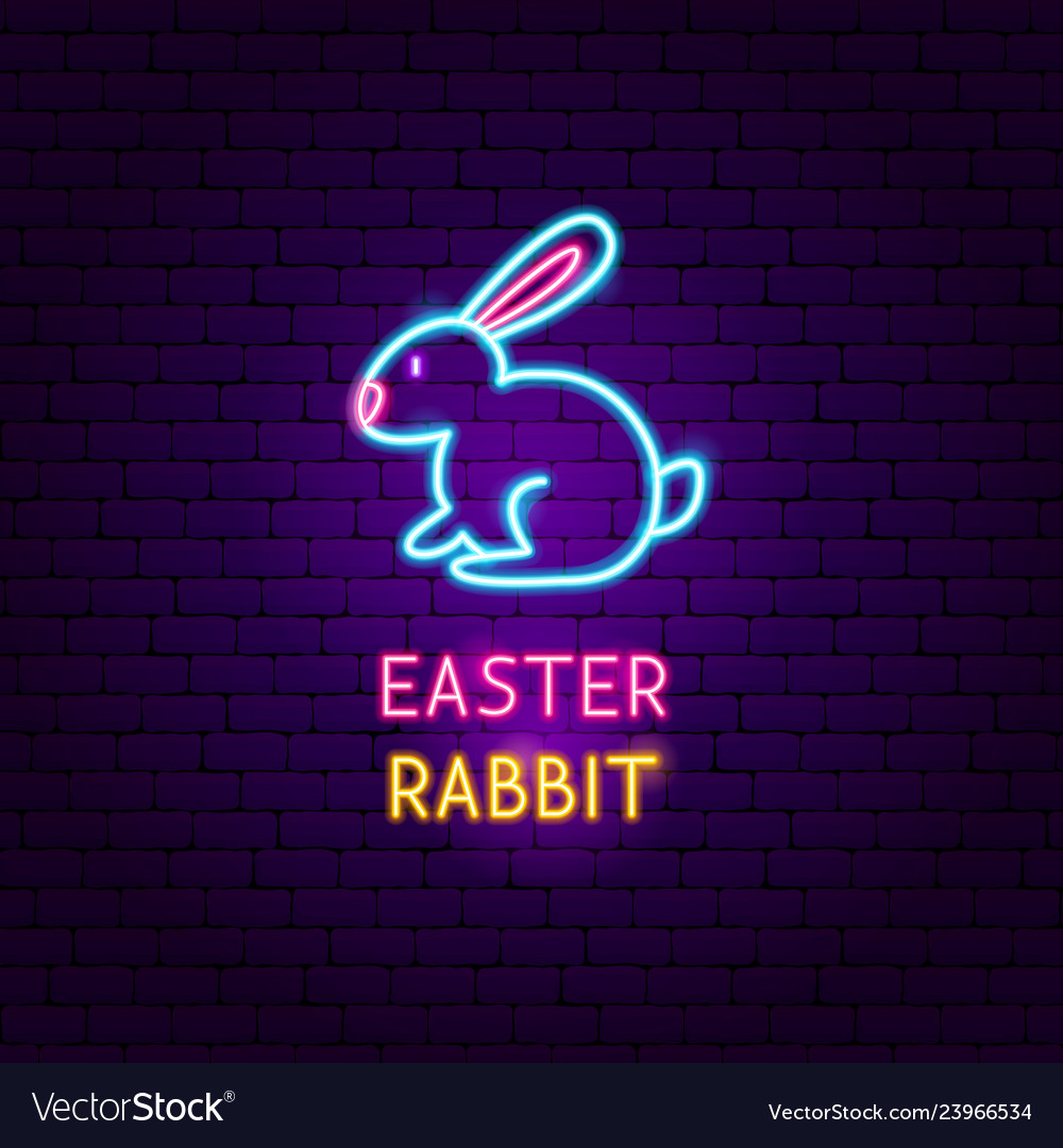 Easter rabbit neon label