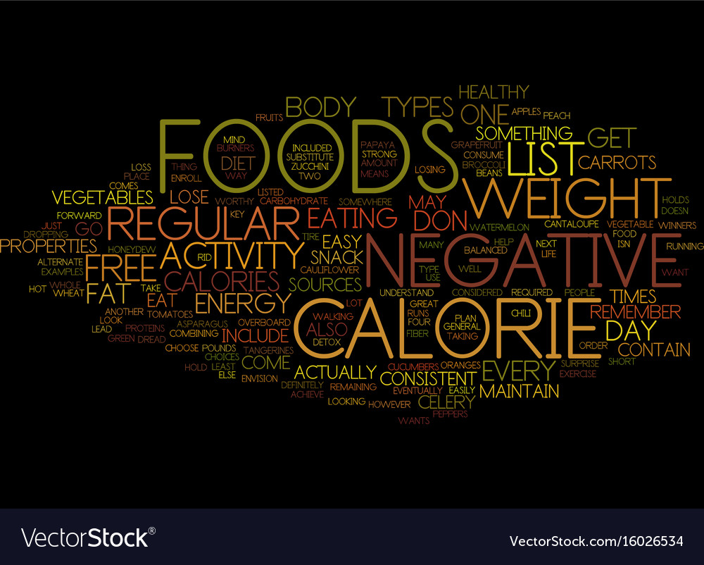 Free list of negative calorie foods what are they vector image