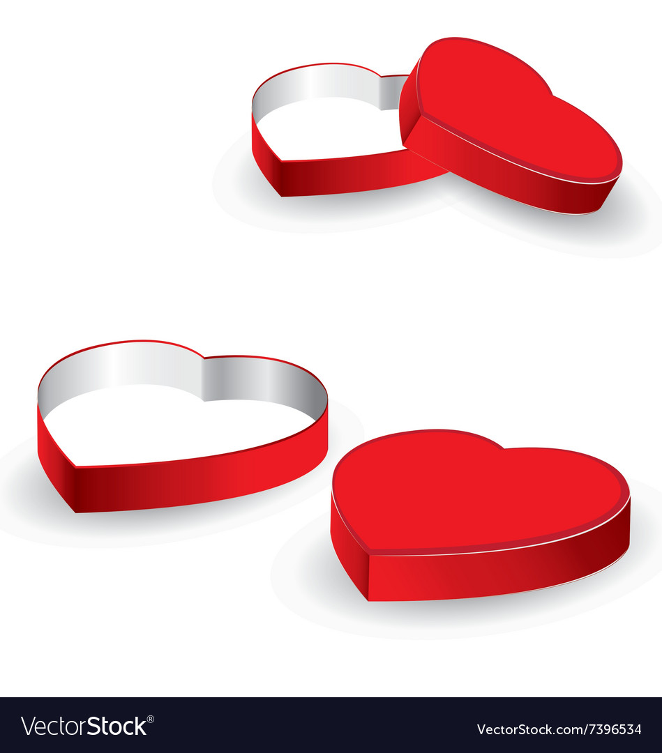 Heart box and Bright gift isolated on white