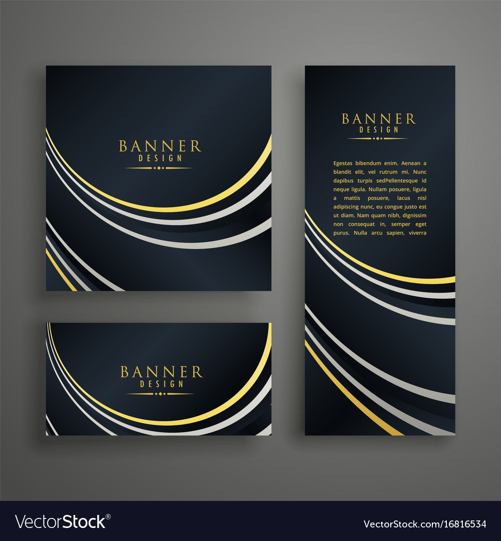Modern dark golden invitation card design set Vector Image