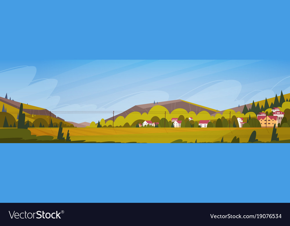 Nature mountains summer landscape with small