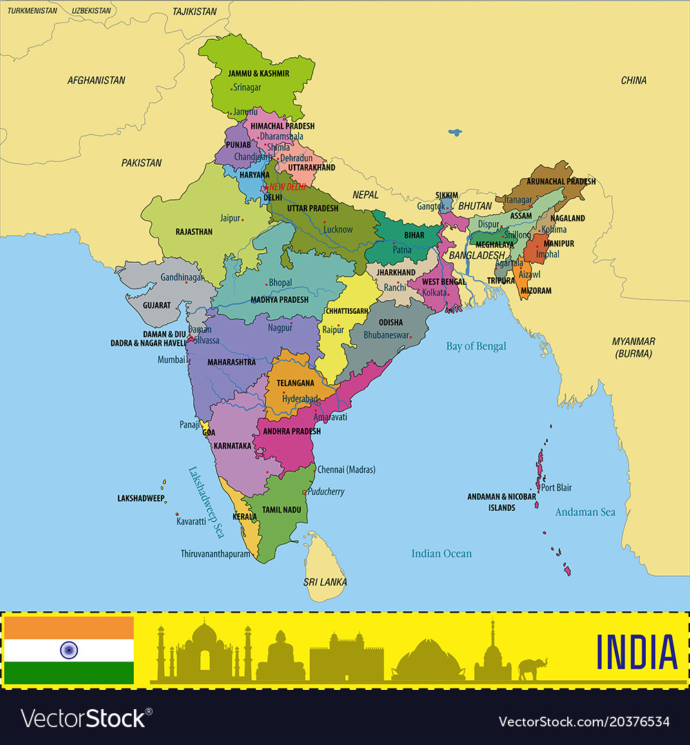 Political Map India Political map of india Royalty Free Vector Image