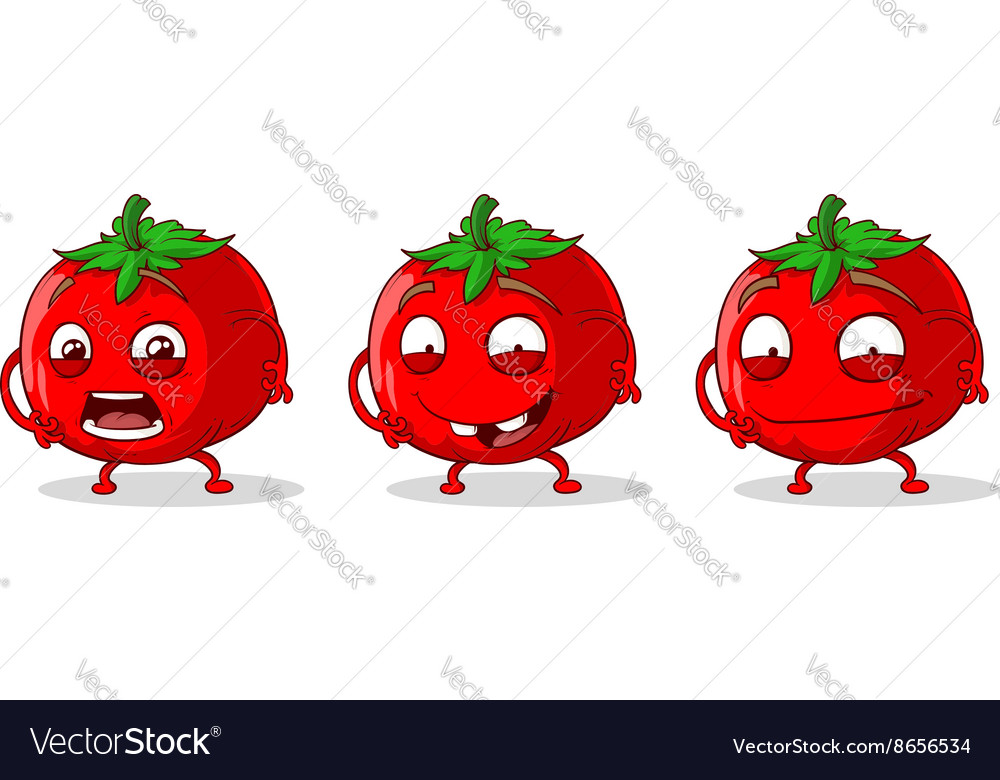 Red crazy tomatoes set