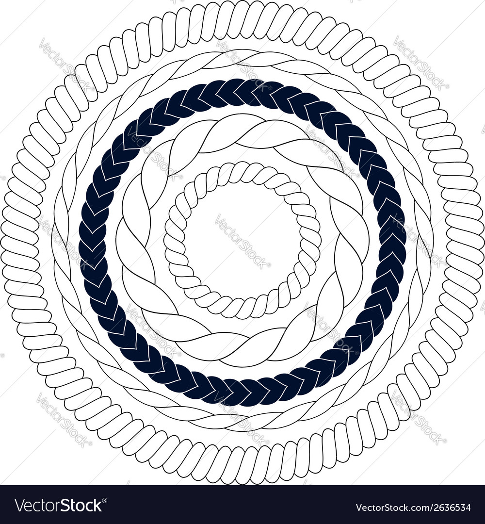 Round rope elements frames borders vector image