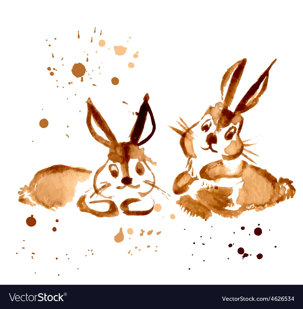Two Brown Rabbit Painted Coffee