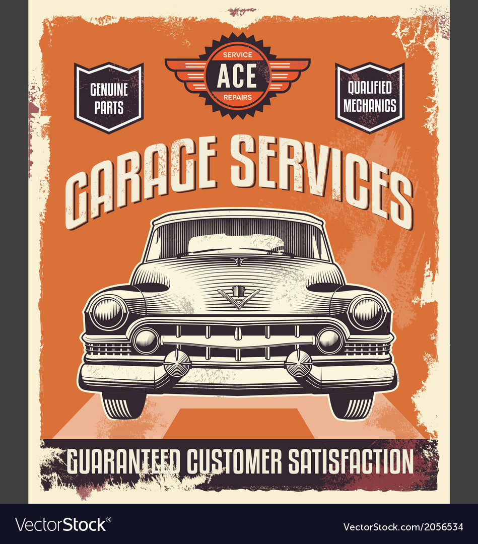 Vintage sign - Advertising poster - Classic car