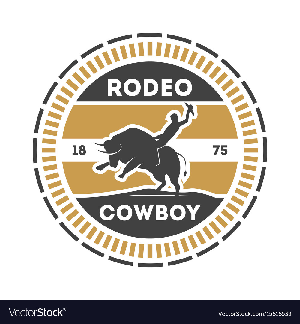 American rodeo vintage label with cowboy on bull