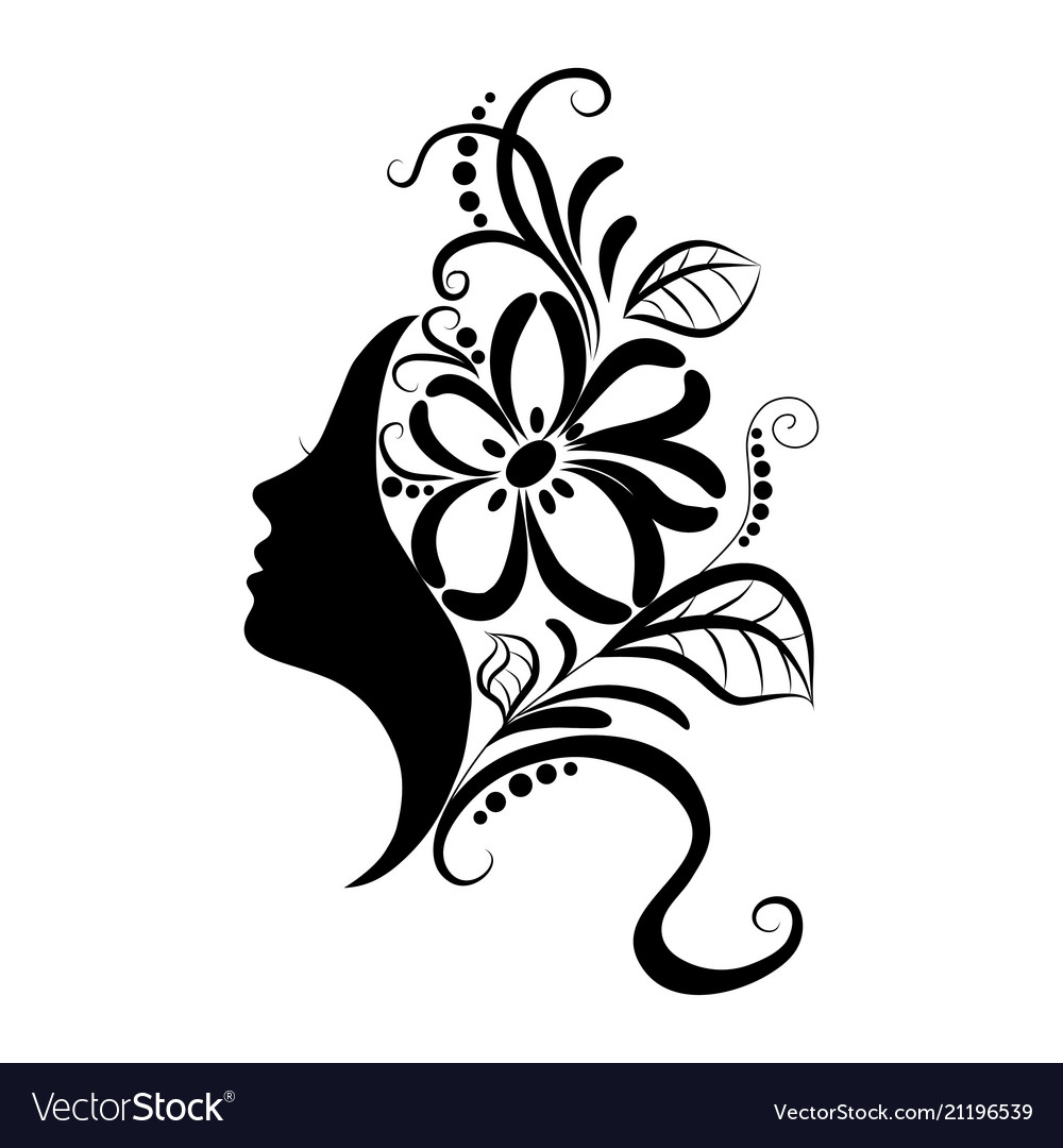 Beautiful girl face with sketch ornate