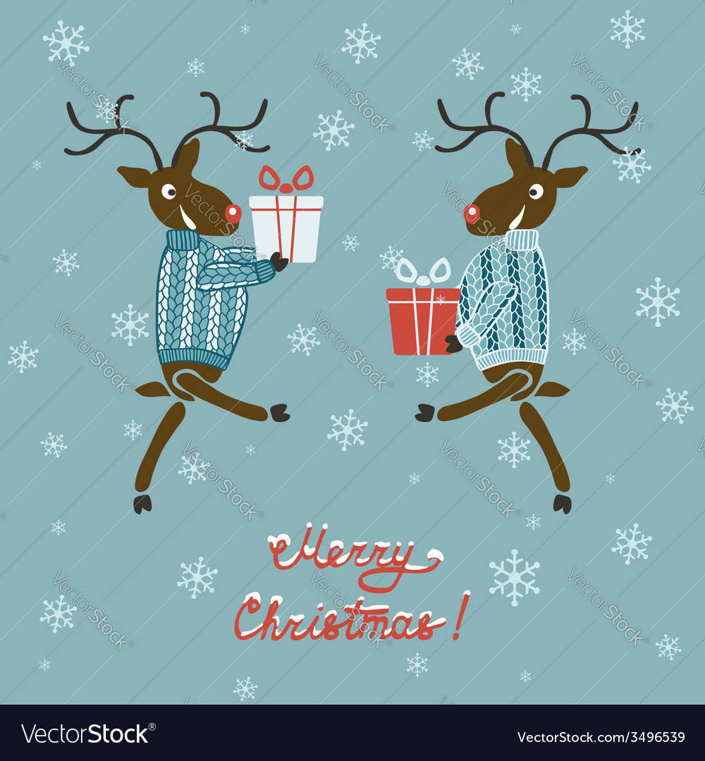Christmas deer in sweater with gifts