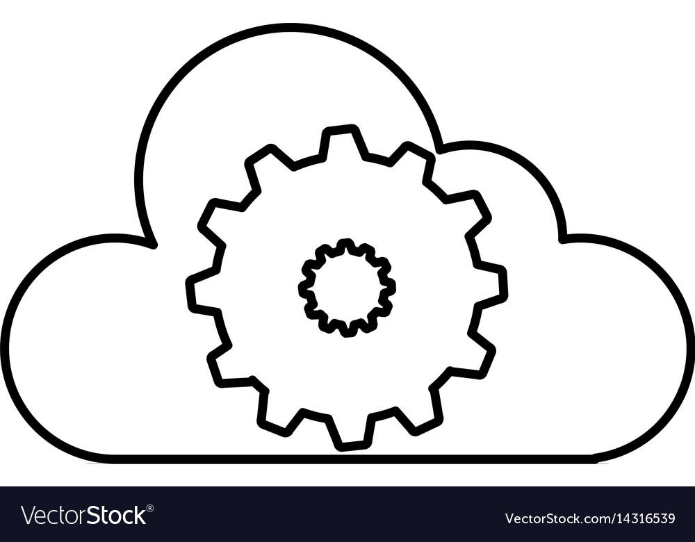 Cloud computing with gear machine isolated icon vector image