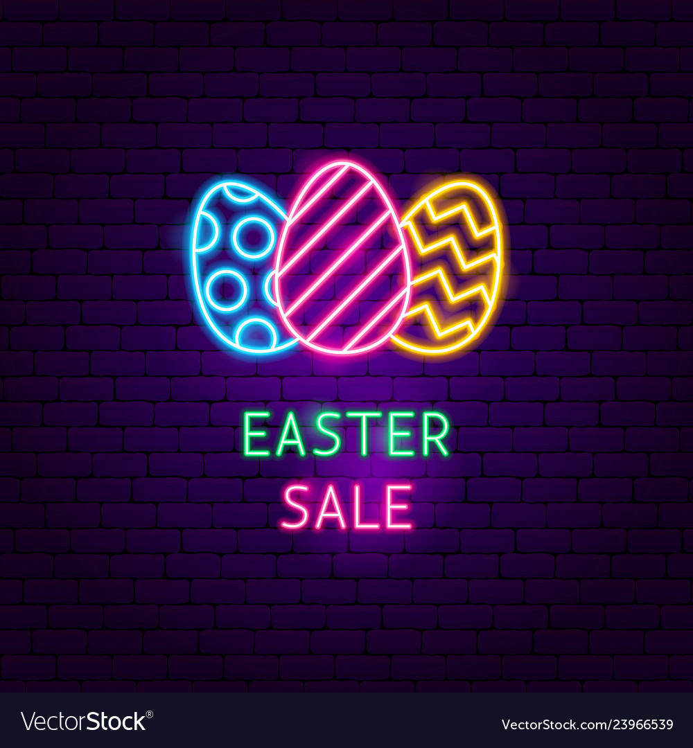 Easter sale neon label