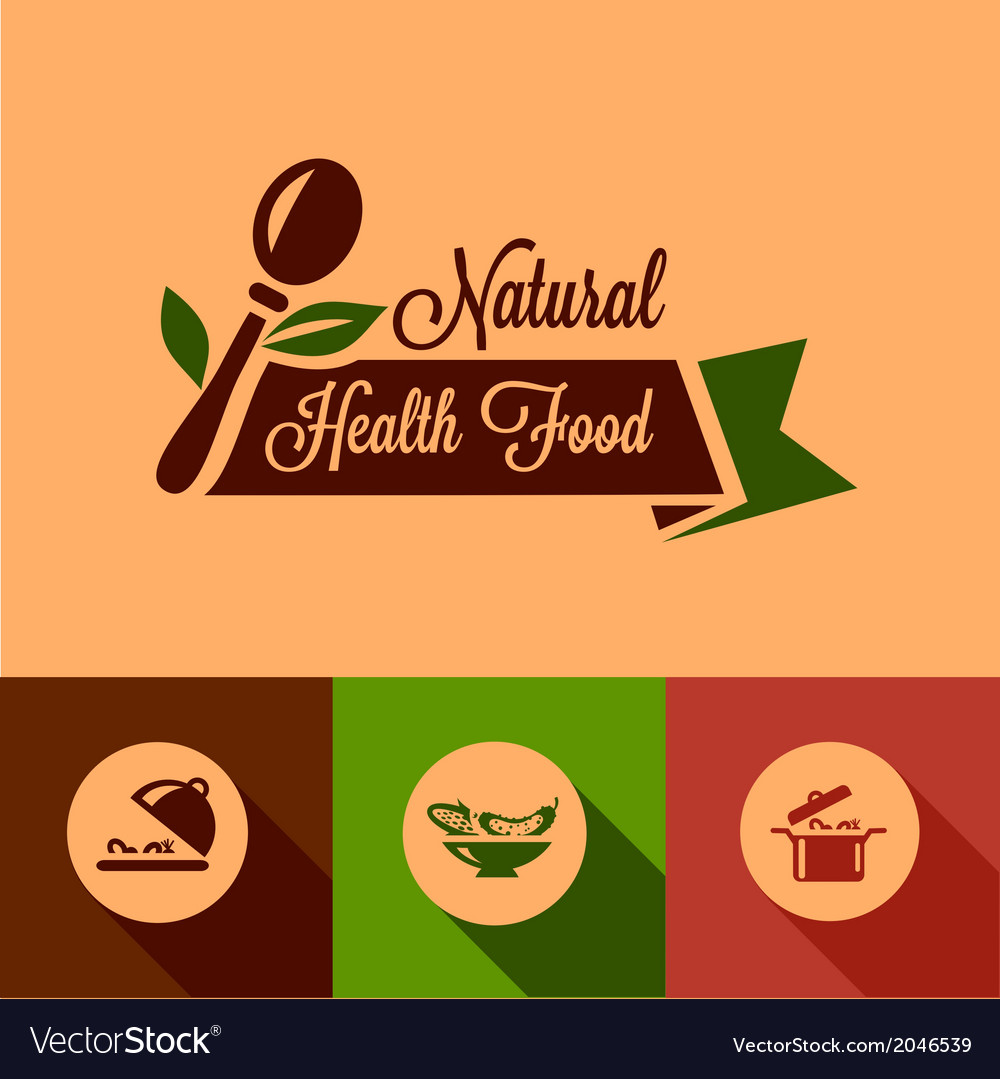 Flat natural food design elements