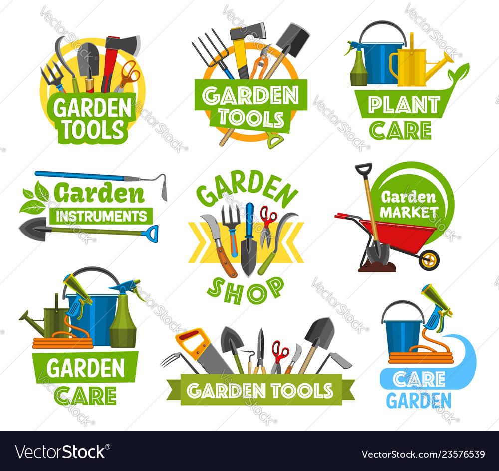 Gardening shop equipment gardening icons