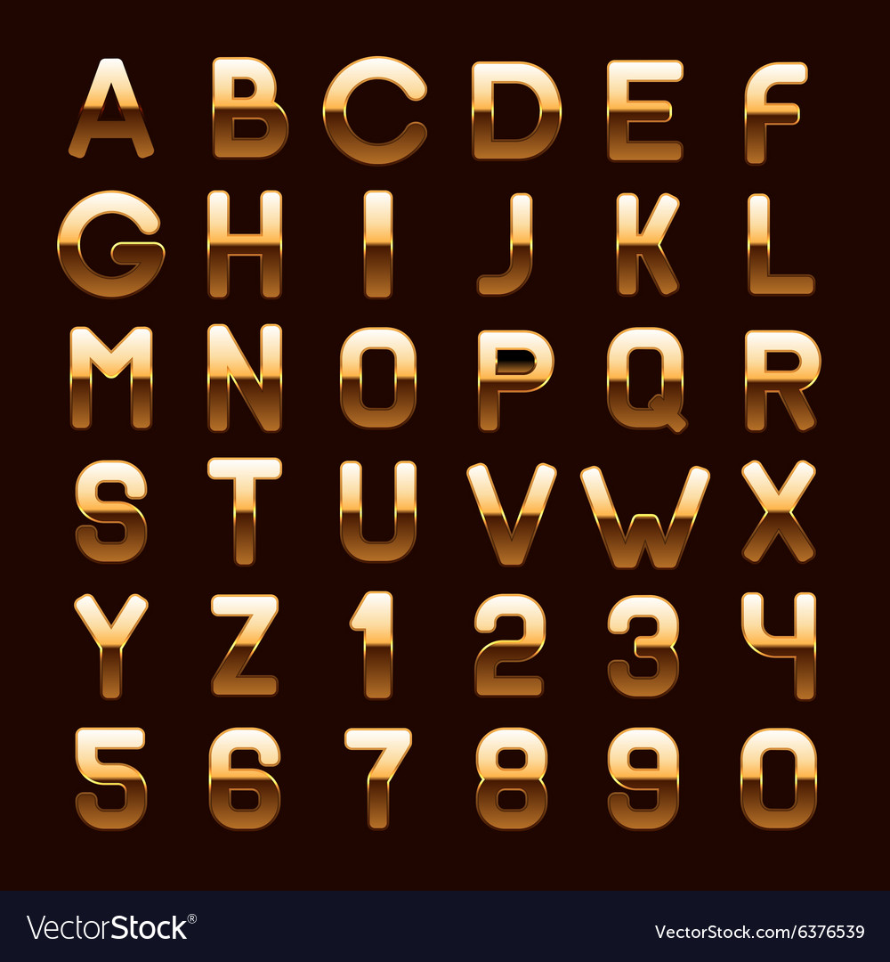 Golden Metallic Shiny ABC Letters and Numbers