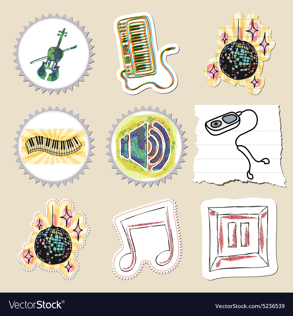 Hand drawn music emblems set Isolated