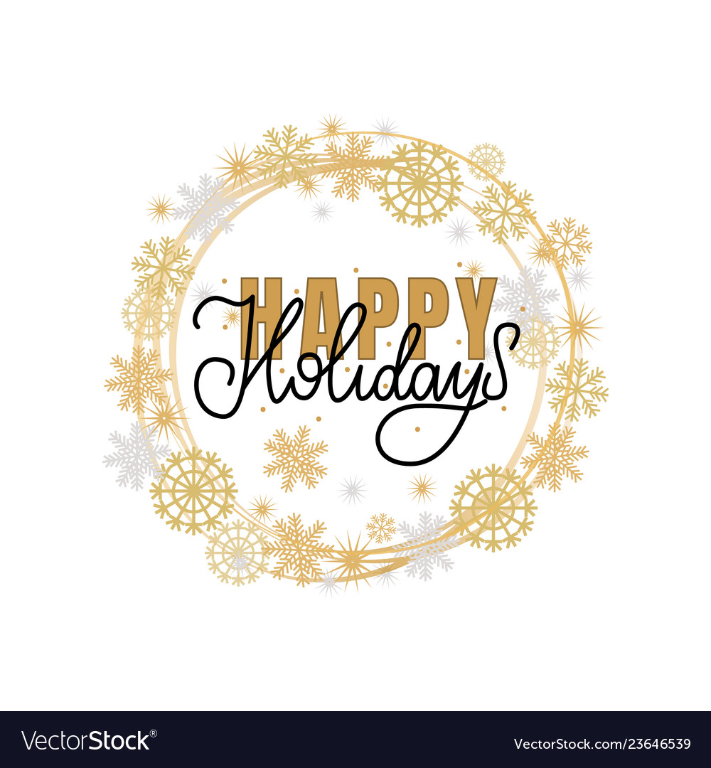 Happy holidays lettering hand drawn doodle text