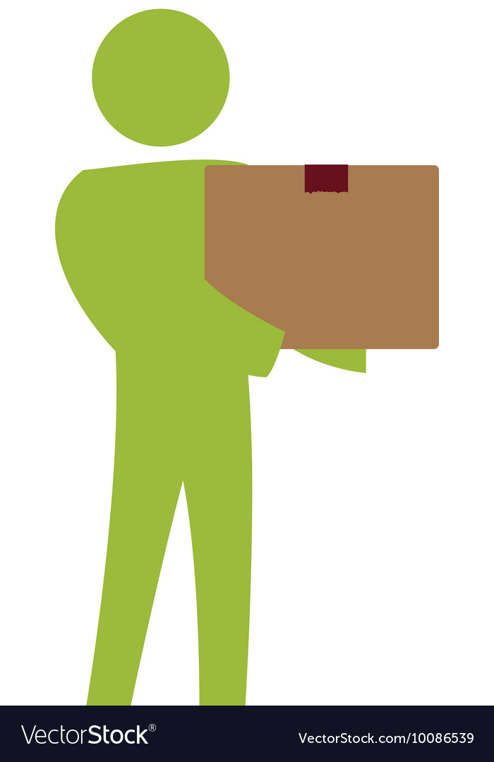 Pictogram box delivery action male man silhouette