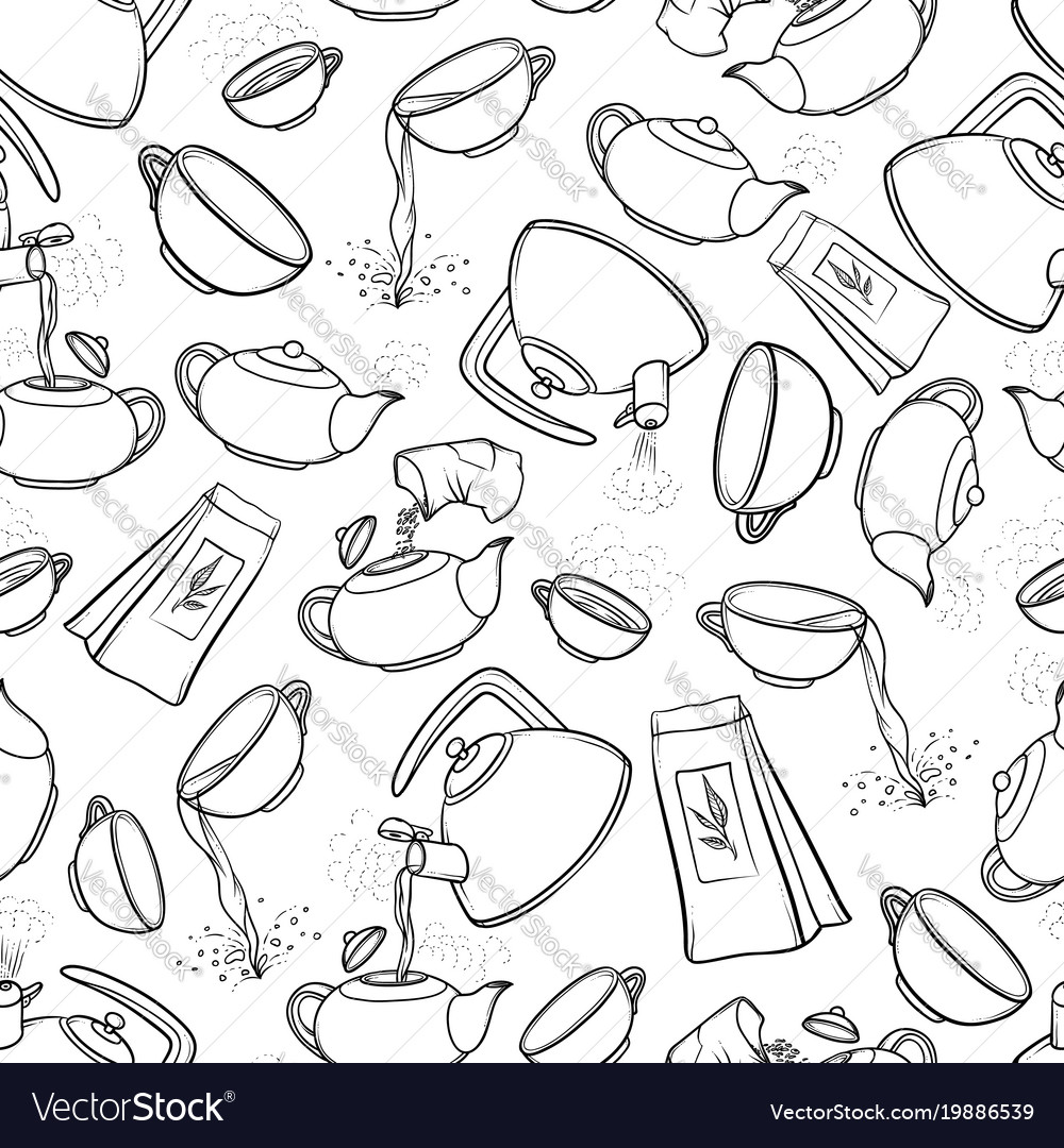 Seamless black and white pattern sketch